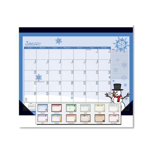 Earthscapes Seasonal Desk Pad Calendar, 22 x 17, Illustrated Holiday, 2021. Picture 1