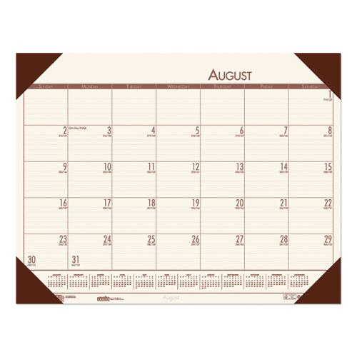 Recycled EcoTones Academic Desk Pad Calendar, 18.5 x 13, Brown Corners, 2020-2021. Picture 1