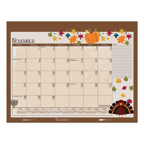 Earthscapes Seasonal Desk Pad Calendar, 22 x 17, Illustrated Holiday, 2021. Picture 10