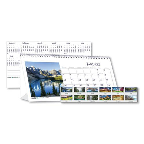 Recycled Scenic Photos Desk Tent Monthly Calendar, 8.5 x 4.5, 2021. Picture 1
