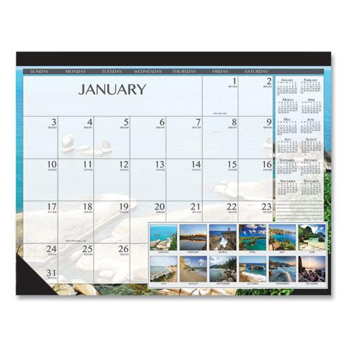 100% Recycled Earthscapes Seascapes Desk Pad Calendar, 22 x 17, 2021. Picture 1