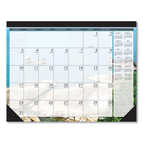 100% Recycled Earthscapes Seascapes Desk Pad Calendar, 22 x 17, 2021. Picture 2