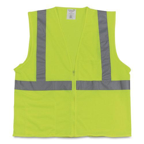 Two-Pocket Zipper Safety Vest, Hi-Viz Lime Yellow, X-Large. Picture 1