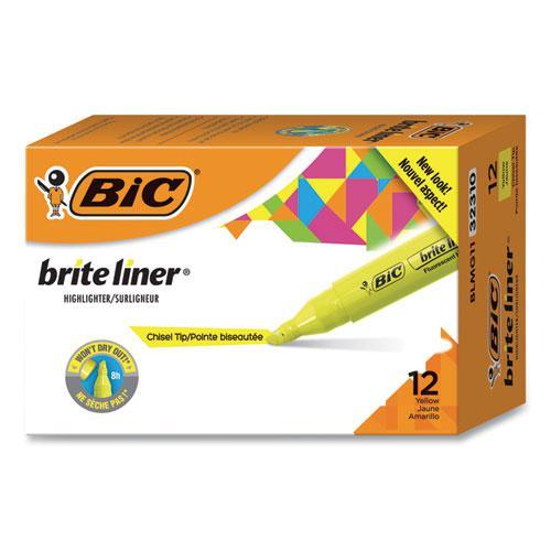 Brite Liner Tank-Style Highlighter, Chisel Tip, Fluorescent Yellow, Dozen. Picture 1