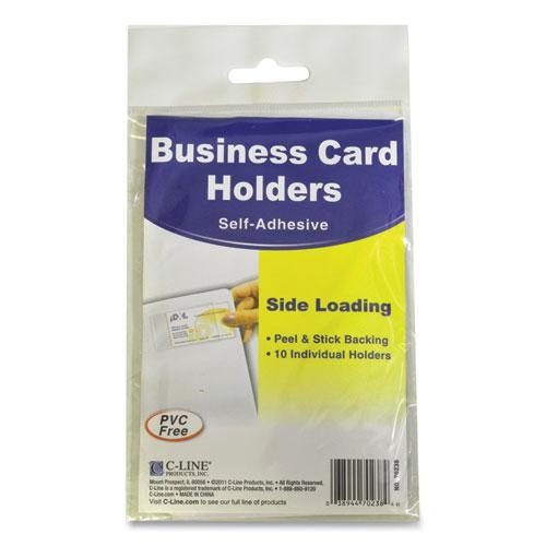 Self-Adhesive Business Card Holders, Side Load, 2 x 3 1/2, Clear, 10/Pack. Picture 6