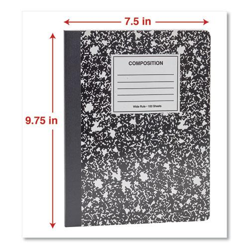 Composition Book, Wide/Legal Rule, Black Marble Cover, 9.75 x 7.5, 100 Sheets. Picture 4