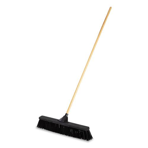 "Push Brooms, 24"" Brush, PP Bristles, For Rough Floor Surfaces, 62"" Wood Handle, Black. Picture 1"