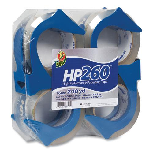 """HP260 Packaging Tape with Dispenser, 3"""" Core, 1.88"""" x 60 yds, Clear, 4/Pack. Picture 1"""