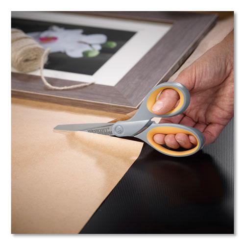 "Titanium Bonded Scissors, 8"" Long, 3.5"" Cut Length, Gray/Yellow Straight Handles, 2/Pack. Picture 3"