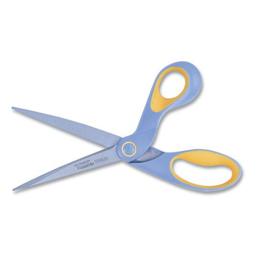 "ExtremEdge Titanium Bent Scissors, 9"" Long, 4.5"" Cut Length, Gray/Yellow Offset Handle. Picture 3"