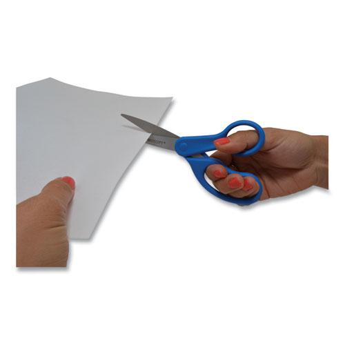 """Preferred Line Stainless Steel Scissors, 8"""" Long, 3.5"""" Cut Length, Blue Straight Handle. Picture 2"""