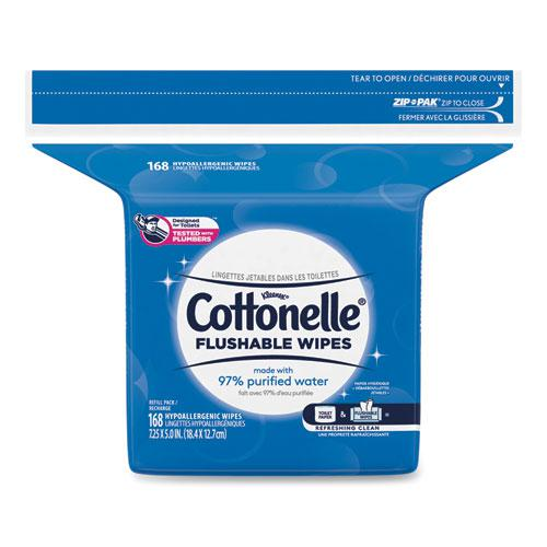 Fresh Care Flushable Cleansing Cloths, White, 5x7 1/4, 168/Pack,8 Pack/Carton. Picture 2