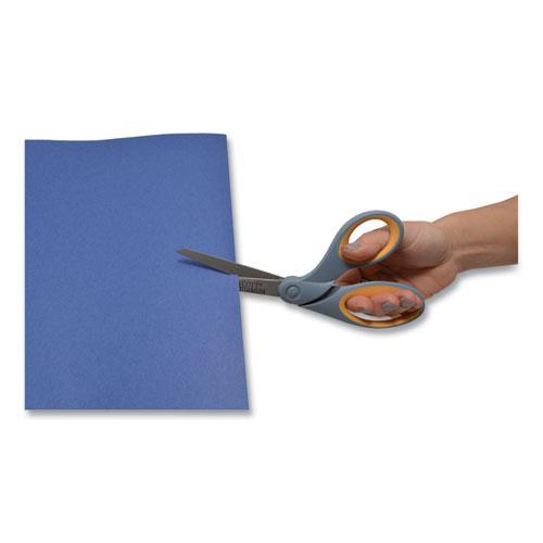 "Titanium Bonded Scissors, 8"" Long, 3.5"" Cut Length, Gray/Yellow Offset Handle. Picture 4"