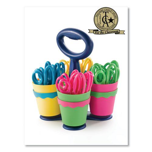 """Scissor Caddy with Kids' Scissors, 5"""" Long, 2"""" Cut Length, Assorted Straight Handles, 24/Set. Picture 1"""