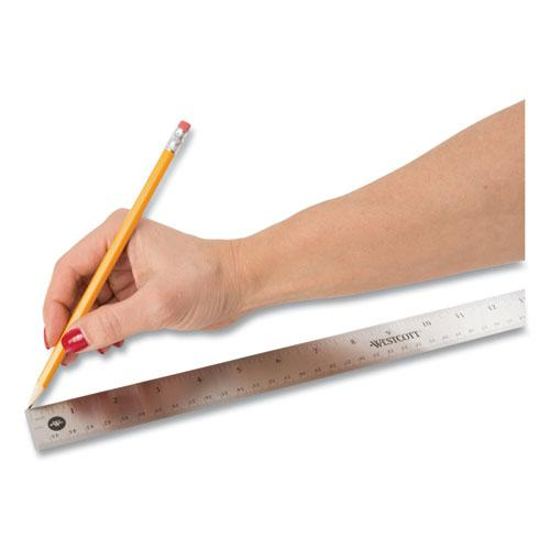 """Stainless Steel Office Ruler With Non Slip Cork Base, 18"""". Picture 6"""