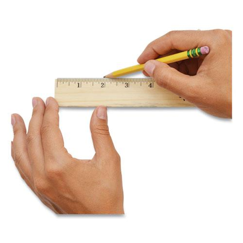 """Wood Ruler with Single Metal Edge, 12"""". Picture 2"""