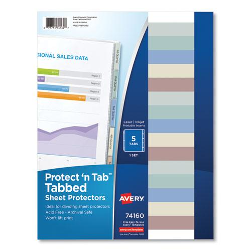 Protect 'n Tab Top-Load Clear Sheet Protectors w/Five Tabs, Letter. Picture 1
