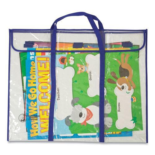 "Bulletin Board Storage Bag, Blue/Clear, 30"" x 24"". Picture 3"