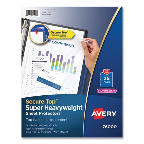 Secure Top Sheet Protectors, Super Heavy Gauge, Letter, Diamond Clear, 25/Pack. Picture 1