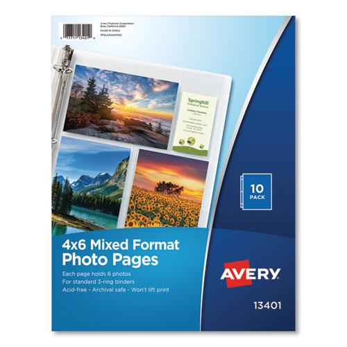 Photo Storage Pages for Six 4 x 6 Mixed Format Photos, 3-Hole Punched, 10/Pack. Picture 1