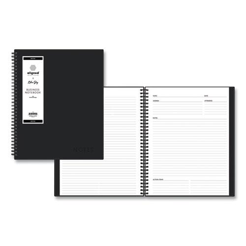 Aligned Business Notebook, Narrow Rule, Black Cover, 11 x 8.5, 78 Sheets. Picture 1