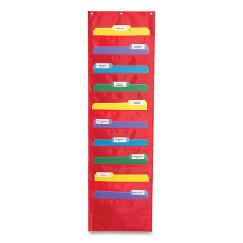 Storage Pocket Chart with Ten 13.5 x 7 Pockets, Hanger Grommets, 14 x 47. Picture 1