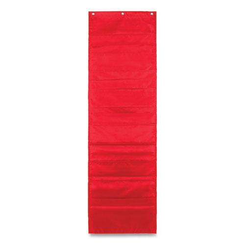 Storage Pocket Chart with Ten 13.5 x 7 Pockets, Hanger Grommets, 14 x 47. Picture 2