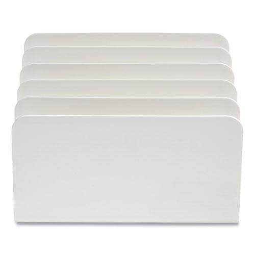 Plastic Incline Mail Sorter, 5 Sections, #6 1/4 to #16 Envelopes, 6.26 x 9.49 x 6.5, White. Picture 1
