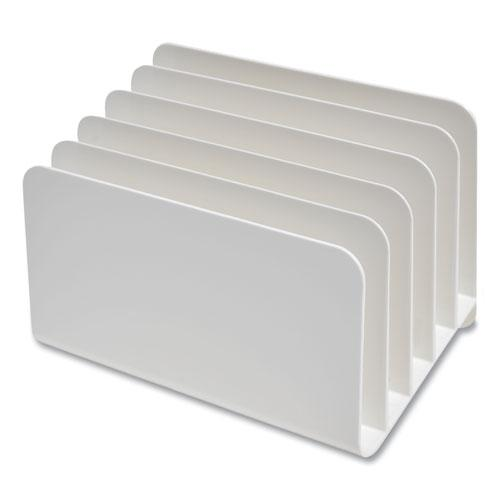 Plastic Incline Mail Sorter, 5 Sections, #6 1/4 to #16 Envelopes, 6.26 x 9.49 x 6.5, White. Picture 2