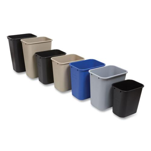 Open Top Indoor Trash Can, Plastic, 7 gal, Gray. Picture 3