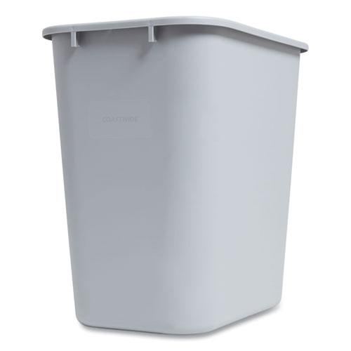 Open Top Indoor Trash Can, Plastic, 7 gal, Gray. Picture 2