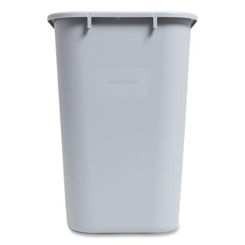 Open Top Indoor Trash Can, Plastic, 7 gal, Gray. Picture 1