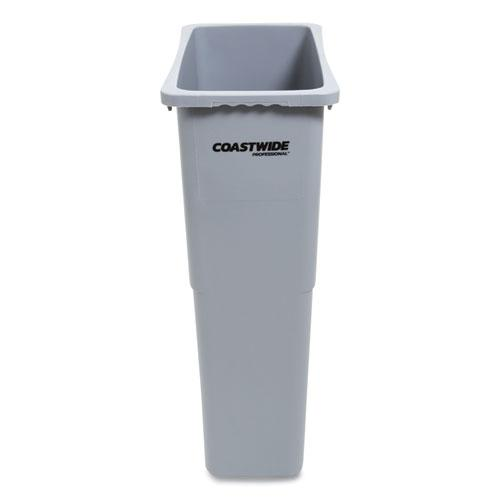 Slim Open Top Trash Can, Plastic, 23 gal, Gray. Picture 1