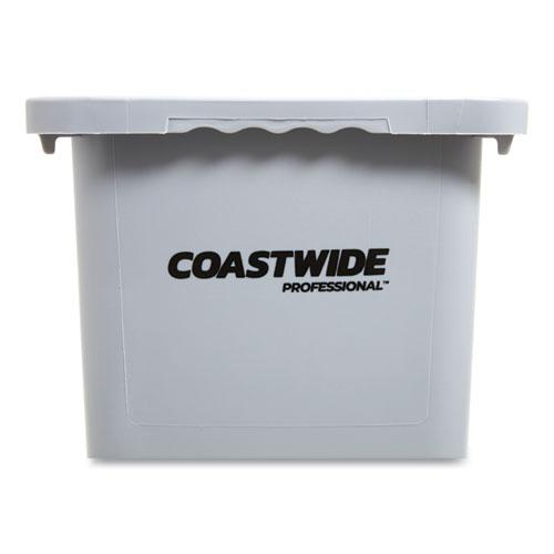 Slim Open Top Trash Can, Plastic, 23 gal, Gray. Picture 3