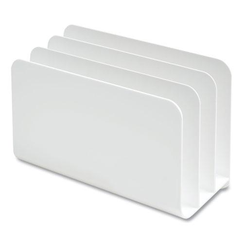 Plastic Incline Mail Sorter, 3 Sections, #6 1/4 to #16 Envelopes, 3.87 x 9.51 x 6.06, White. Picture 3