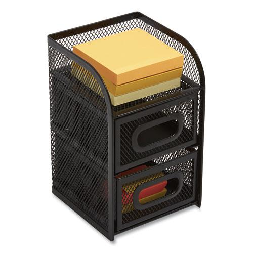 Three Compartment Wire Mesh Accessory Holder, 4.56 x 4.72 x 7.2, Black. Picture 1