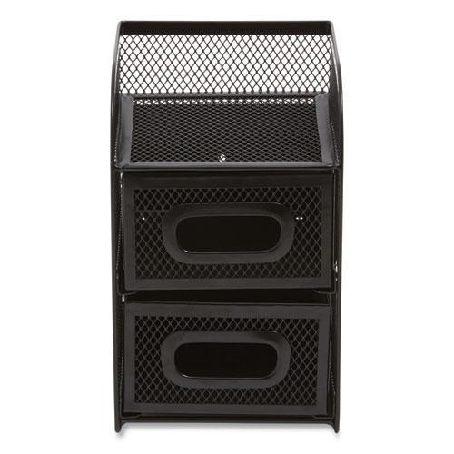 Three Compartment Wire Mesh Accessory Holder, 4.56 x 4.72 x 7.2, Black. Picture 2