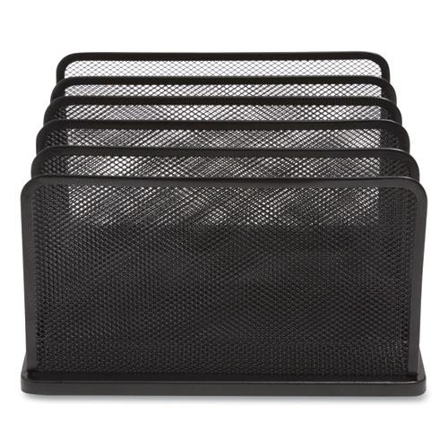 Wire Mesh Vertical Document Sorter, 5 Sections, Letter-Size, 11.57 x 12.83 x 6.69, Matte Black. Picture 4