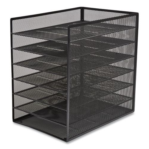 Front-Load Enclosed Wire Mesh Horizontal Document Organizer, 6 Sections, Letter-Size, 9.25 x 13.38 x 13.38, Matte Black. Picture 4