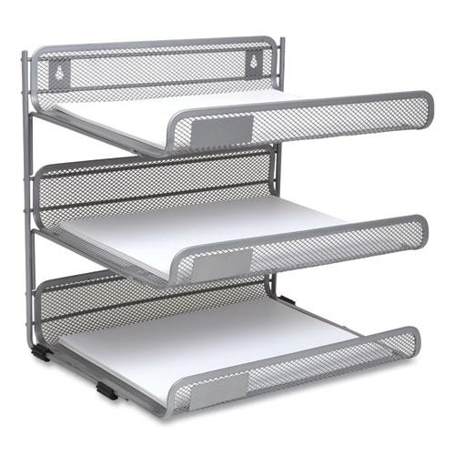 Side-Load Open Design Wire Mesh Horizontal Document Organizer, 3 Sections, Letter-Size, 13.78 x 11.22 x 13.38, Silver. Picture 1
