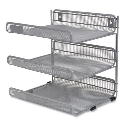 Side-Load Open Design Wire Mesh Horizontal Document Organizer, 3 Sections, Letter-Size, 13.78 x 11.22 x 13.38, Silver. Picture 2