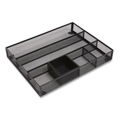 Mesh Drawer Organizer, 6 Compartment, 15.43 x 12.2 x 2.68, Black. Picture 1