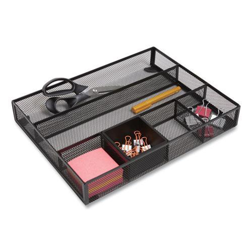 Mesh Drawer Organizer, 6 Compartment, 15.43 x 12.2 x 2.68, Black. Picture 2