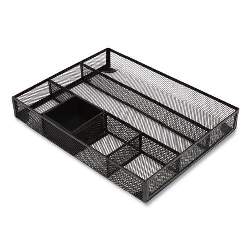 Mesh Drawer Organizer, 6 Compartment, 15.43 x 12.2 x 2.68, Black. Picture 3