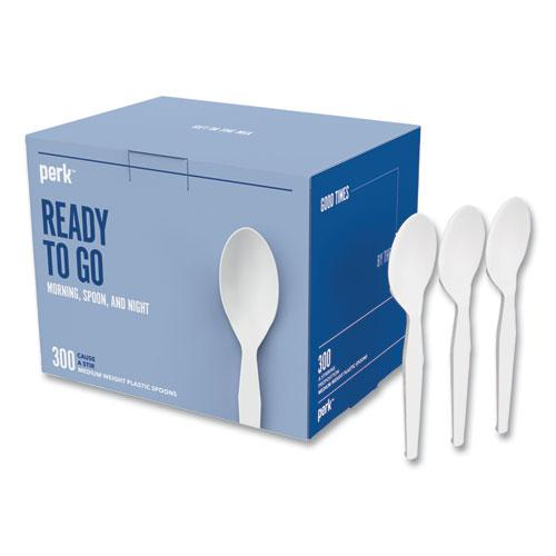 Eco-ID Mediumweight Compostable Cutlery, Teaspoon, White, 300/Pack. Picture 1