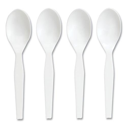 Eco-ID Mediumweight Compostable Cutlery, Teaspoon, White, 300/Pack. Picture 2