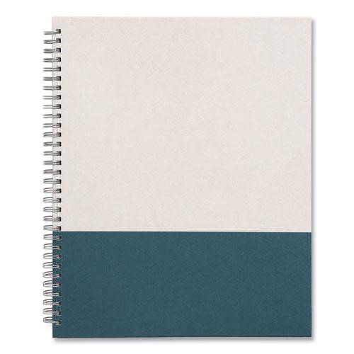 Wirebound Hardcover Notebook, 1 Subject, Narrow Rule, Gray/Teal Cover, 11 x 8.5, 80 Sheets. Picture 1