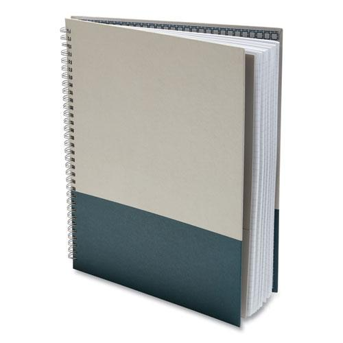 Wirebound Hardcover Notebook, 1 Subject, Narrow Rule, Gray/Teal Cover, 11 x 8.5, 80 Sheets. Picture 4