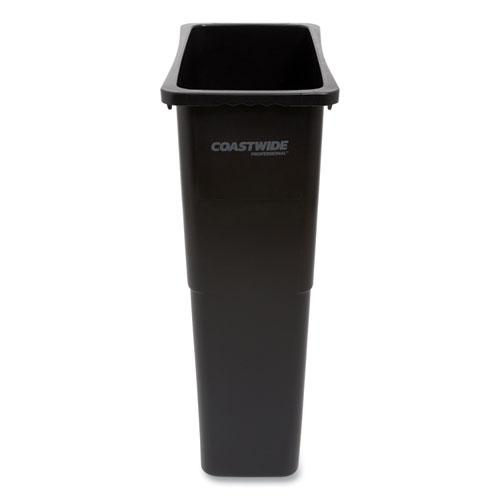 Slim Open Top Trash Can, Plastic, 23 gal, Black. Picture 1