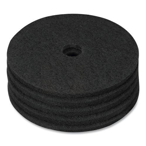 "Stripping Floor Pads, 17"" Diameter, Black, 5/Carton. Picture 2"